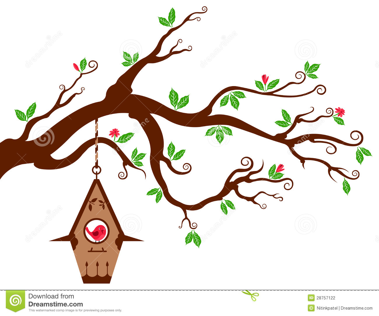Brds clipart tree house With birdhouse Art Tree Branches