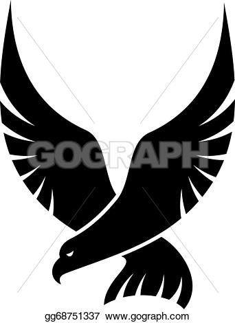 Bird Of Prey clipart swooping Isolated  Black with Illustration