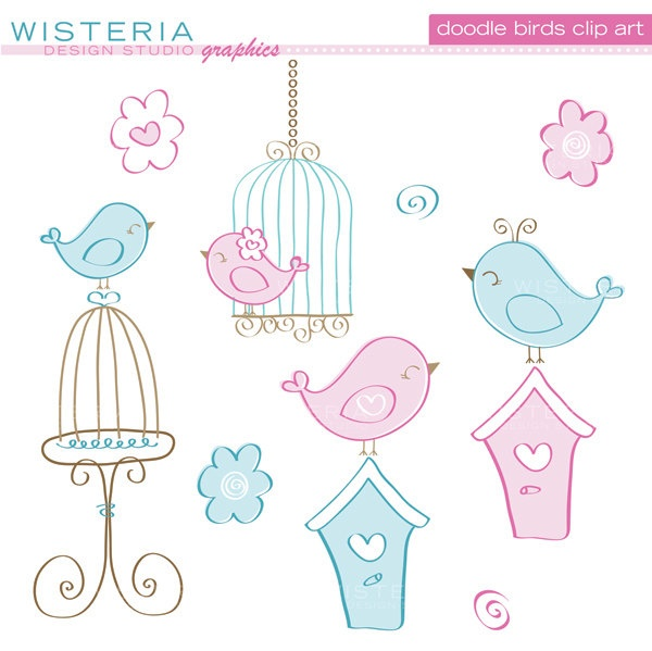 Cage clipart cute Art and Blue Clip Birds