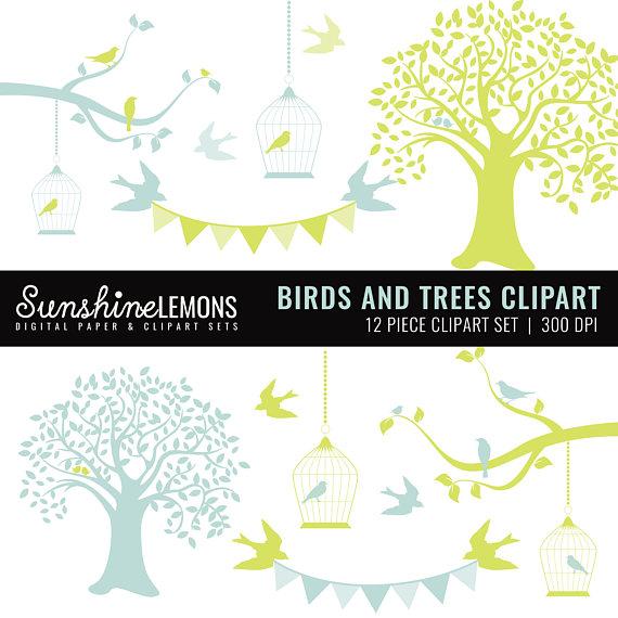 Birdcage clipart blue Trees Green Birds Clipart Etsy