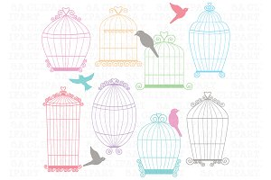Birdcage clipart blue Birdcages Market Creative Birdcage Templates