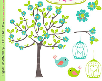 Birdcage clipart cute Tree Etsy Clip Teal SALE