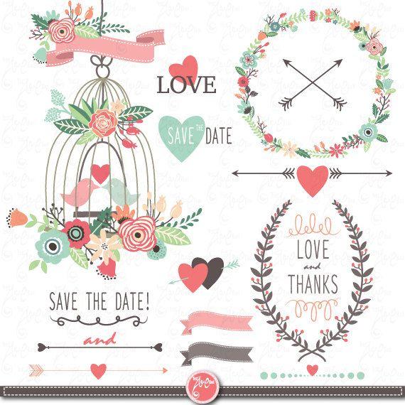 Vintage Flower clipart vintage love Frames Clipart Instant