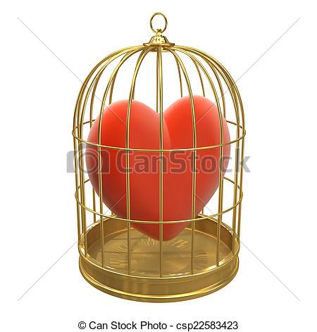 Birdcage clipart red 3d a Clip  golden