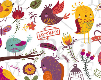 Birdcage clipart round Autumn Bird Hand Bird Fall