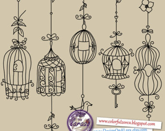 Chandelier clipart hand drawn Shabby rustic clip cage cages