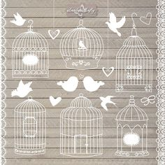 Birdcage clipart shabby chic Wood chic  cage INSTANT