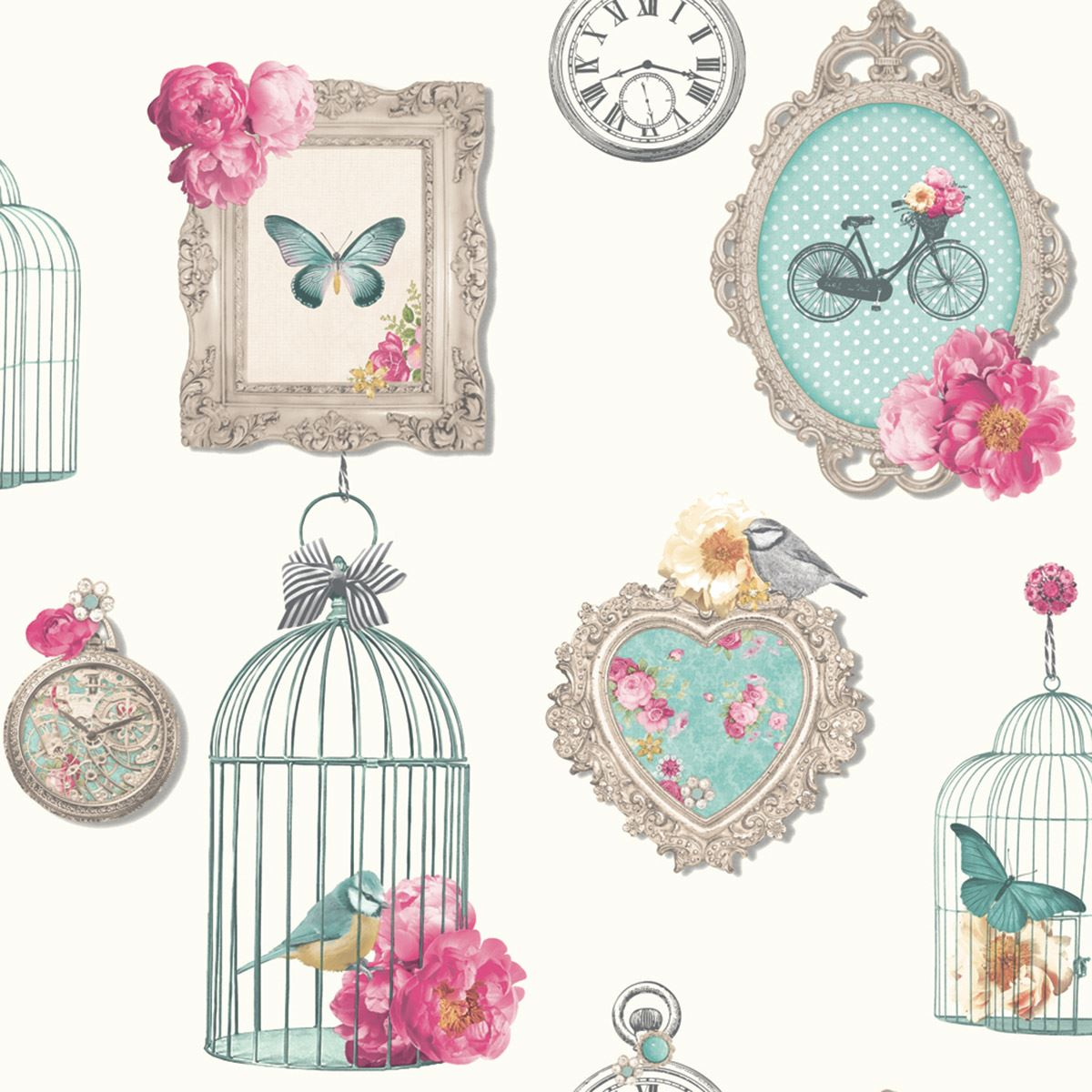 Cage clipart shabby chic CHIC FRAMES BIRD  WALLPAPER