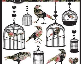 Cage clipart shabby chic Clipart Bird clip Etsy Shabby