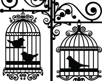 Birdcage clipart vector Etsy Rod Vector Digital Instant