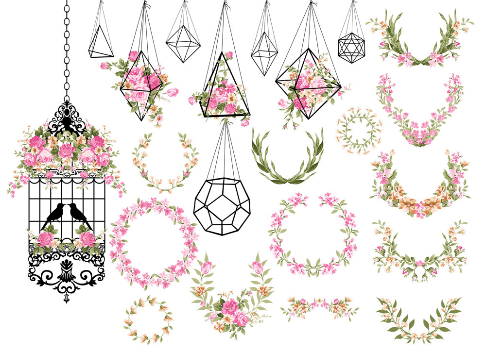 Damask clipart elegant scroll Chic Hanging birdcage laurels Etsy