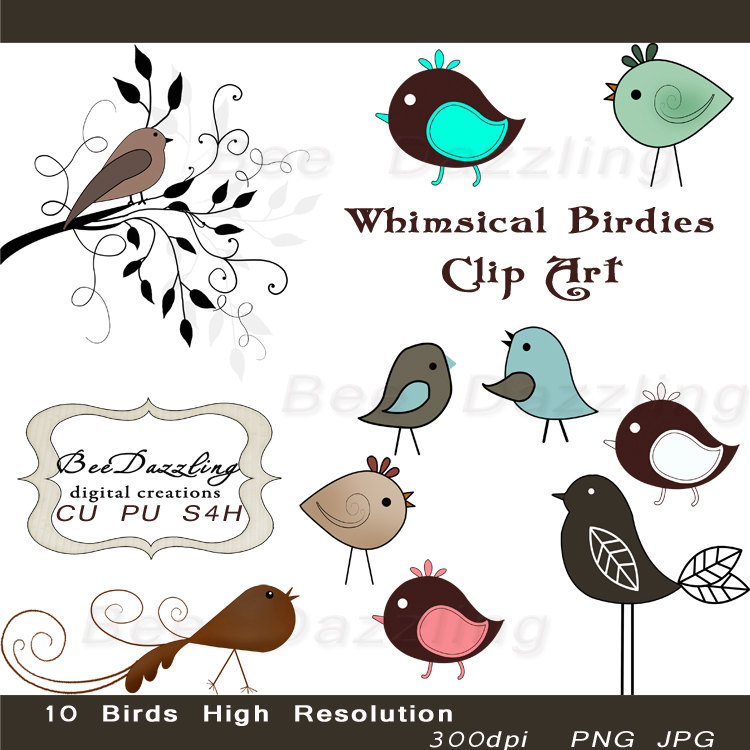 Bird clipart whimsy  more Google Digital obsession