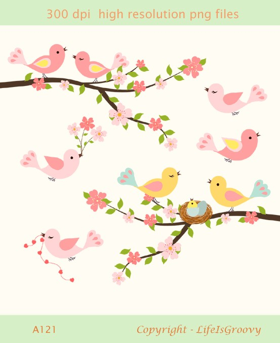 Blue Flower clipart love Spring birds collection Spring clipart