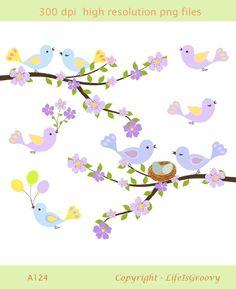 Cherry Tree clipart spring bird Birds A124 blossoms eggs