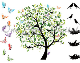 Nest clipart tree drawing Digital Valentines Etsy Bird ClipArt