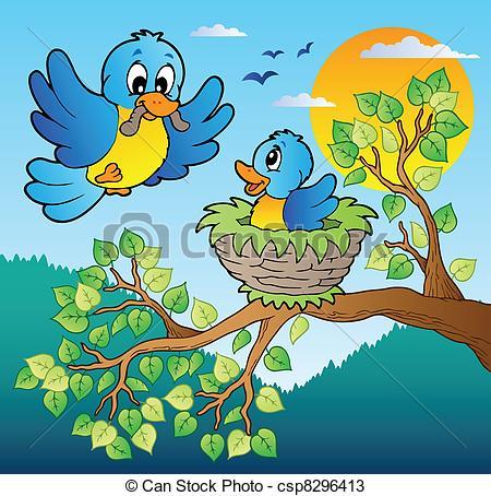Nest clipart tree drawing Birds tree tree csp8296413 vector