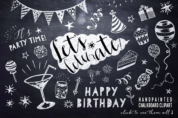 Birthday clipart chalkboard Birthday Birthday Clipart Party Clipart