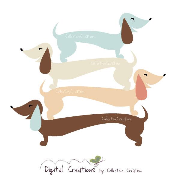 Birthday clipart dachshund / Dachshund and Card Digital