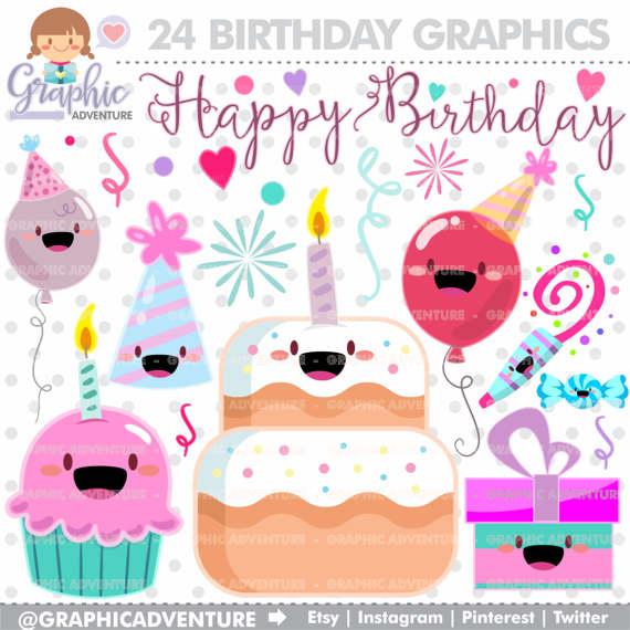 Birthday clipart kawaii Art Clipart  Birthday Clipart