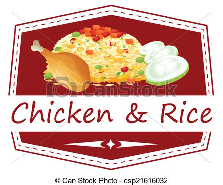 Rice clipart white background A a chicken of A