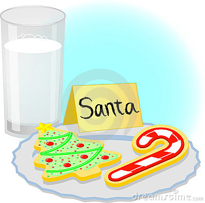 Santa clipart milk and cookie #1