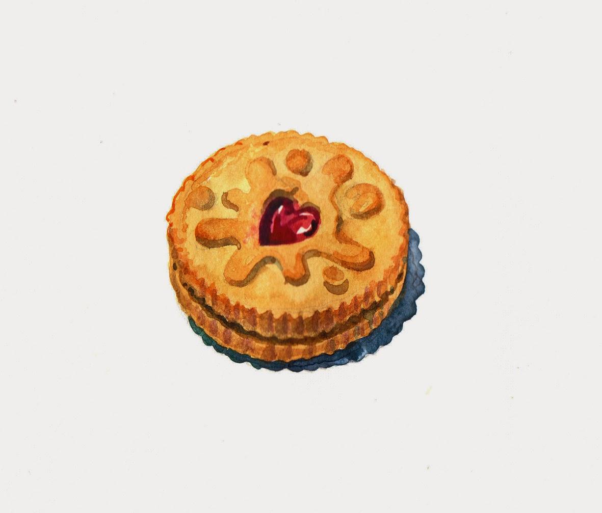 Biscuit clipart jammy Art lineandwash:jammie+dodger Watercolor / /