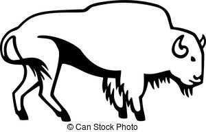 Bison clipart black and white Bison Illustrations royalty free Clipart
