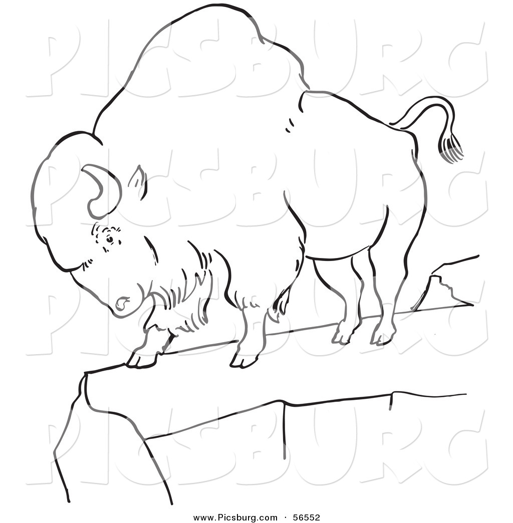 Bison clipart black and white Line a Line Bison Standing