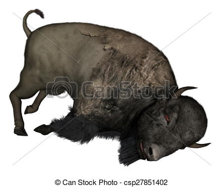 Bison clipart dead Stock 3D dead isolated of