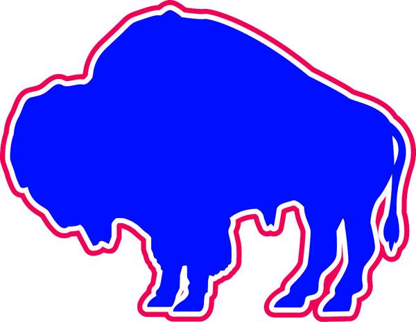 Bison clipart buffalo head Blue white team vinyl white