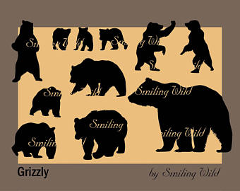 Black Bear clipart woodland Woodland art vector forest silhouette