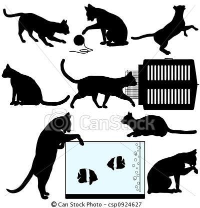 Black Cat clipart black kitten Cat set symbol silhouettes Pet