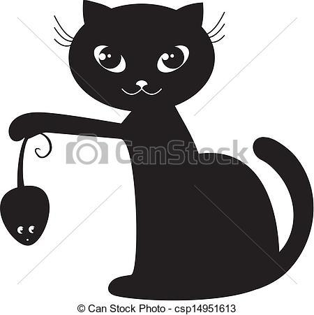 Black Cat clipart cartoon Vector Clip cat of black