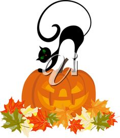 Black Cat clipart jack o lantern Clipart Cat Pumpkin Art a