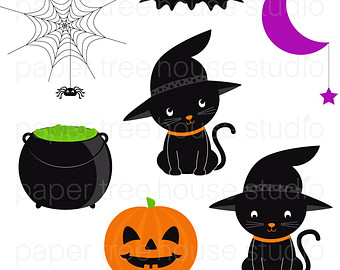 Black Cat clipart pumpkin patch Halloween Clip Kittens Bats Art