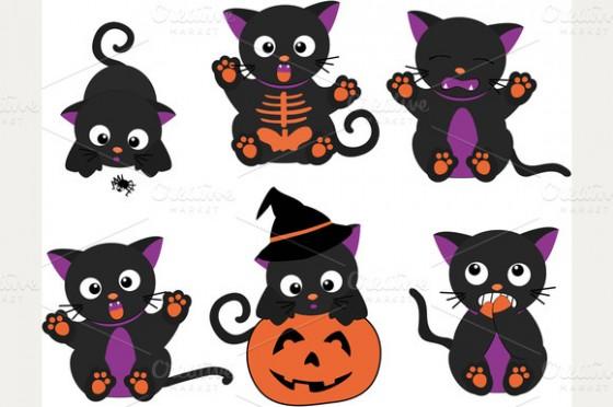 Black Cat clipart pumpkin patch Cute (01) Clipart Halloween Halloween