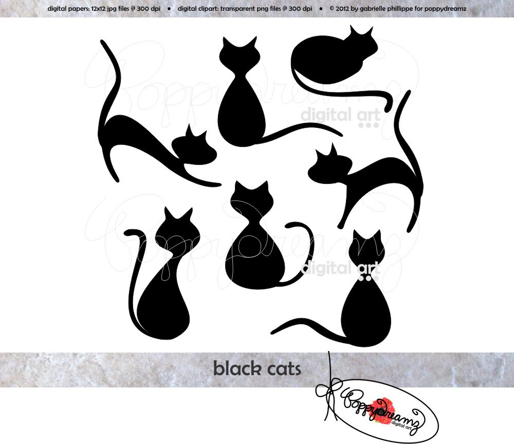 Black Cat clipart scrapbook Cats Clip Digital  300