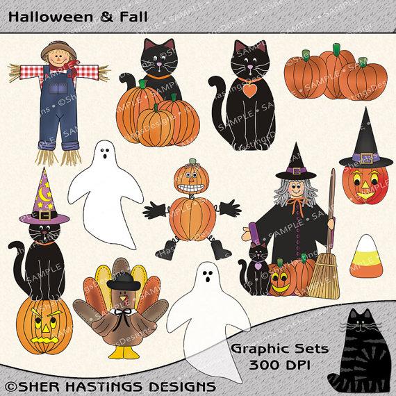 Black Cat clipart scrapbook Set Graphic Fall Clipart Clipart