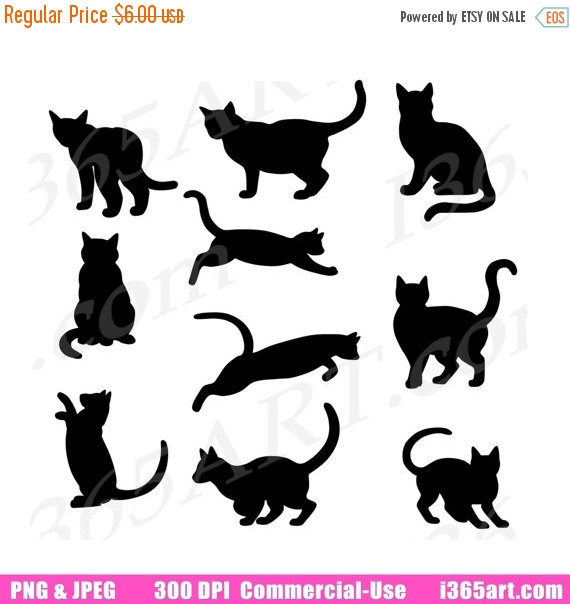 Black Cat clipart scrapbook Digital Art Silhouette Silhouette Cat