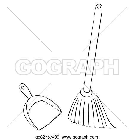 Black clipart broom Outline Vector & dustpan EPS