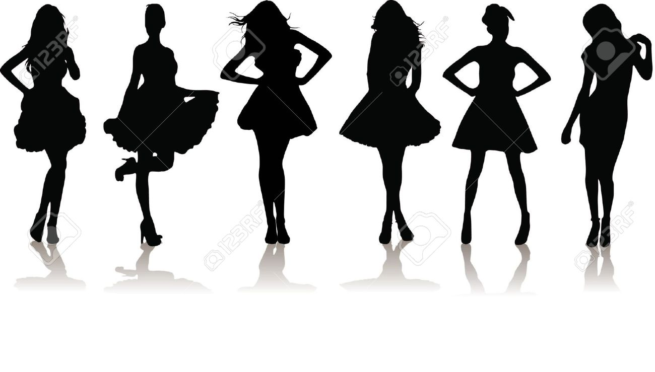 Black Dress clipart stand In Girl silhouette dress in