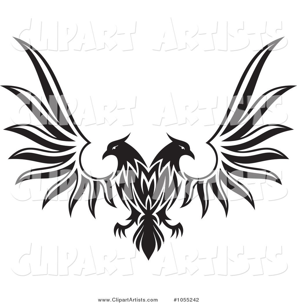 Black Eagle clipart spread eagle Outline by Clipart Vector black