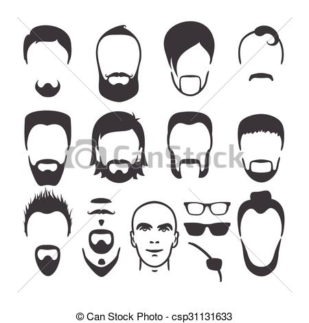 Black Hair clipart man face Beard set Vector face set