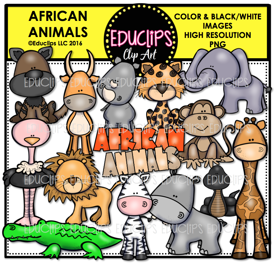 Black Mamba clipart colored (Color African Clip Bundle African