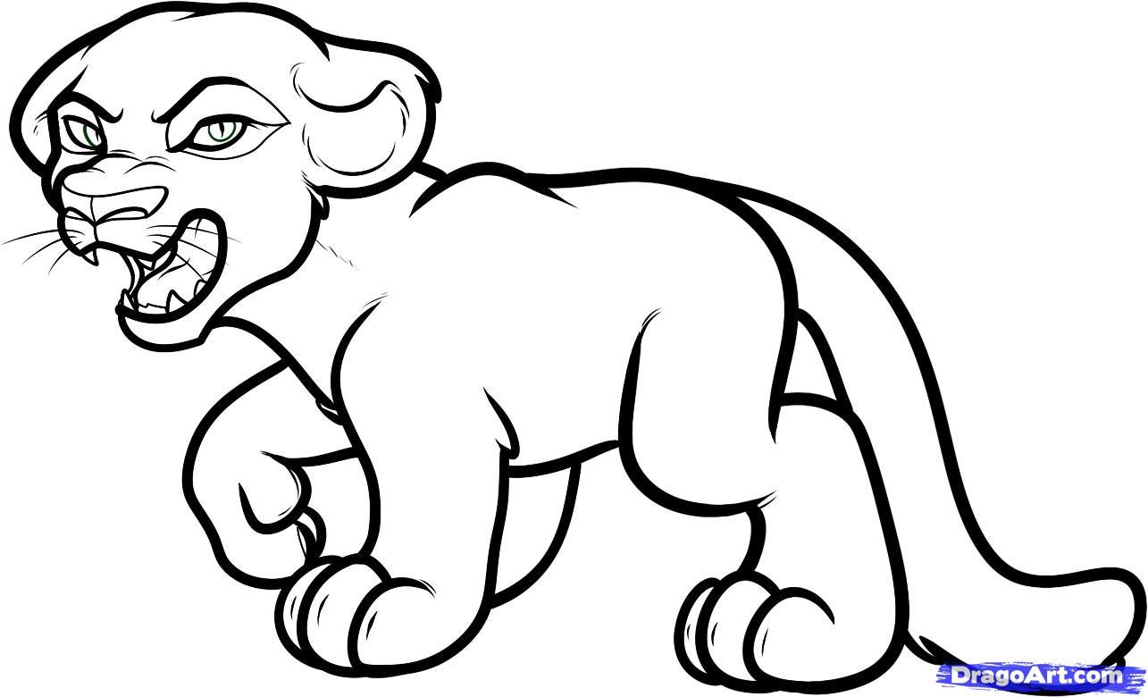 Drawn panther cat To Step Art Cartoon Cartoon