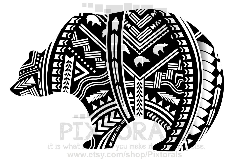 Black Panther clipart polynesian Digital Mascot file  Bear