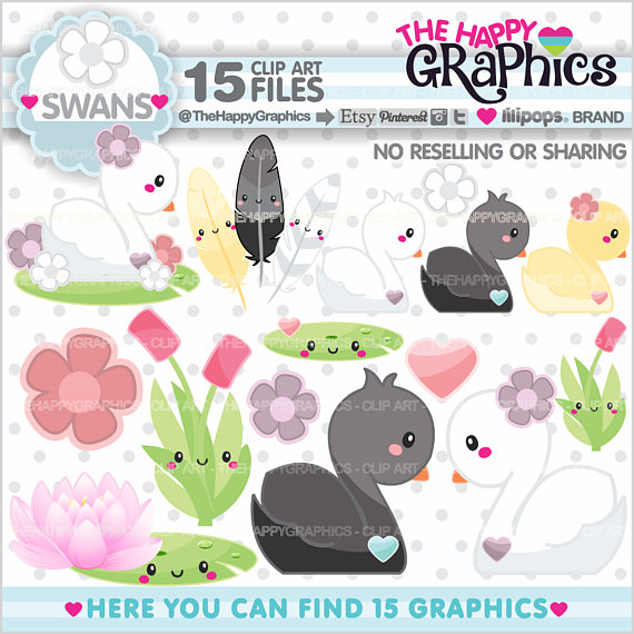 Black Swan clipart animal USE COMMERCIAL Graphic Swan Il_570xn