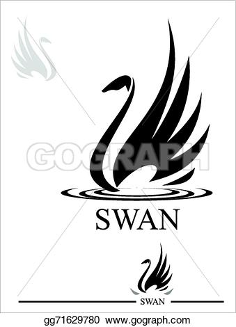 Black Swan clipart calligraphy Stock Clip Illustration swan swan