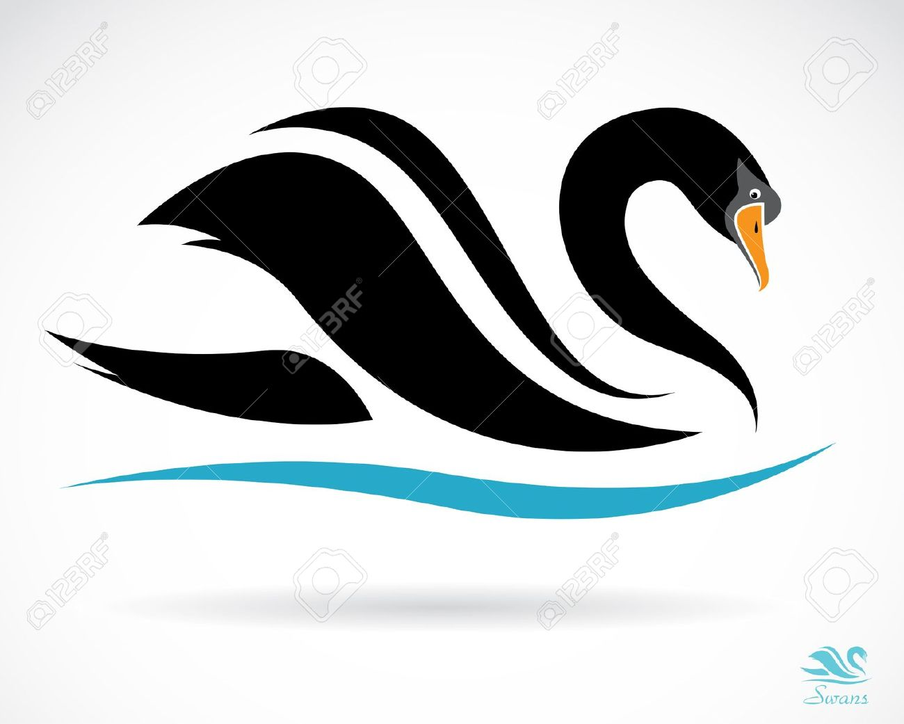 Black Swan clipart vector Black Vector Background A Background