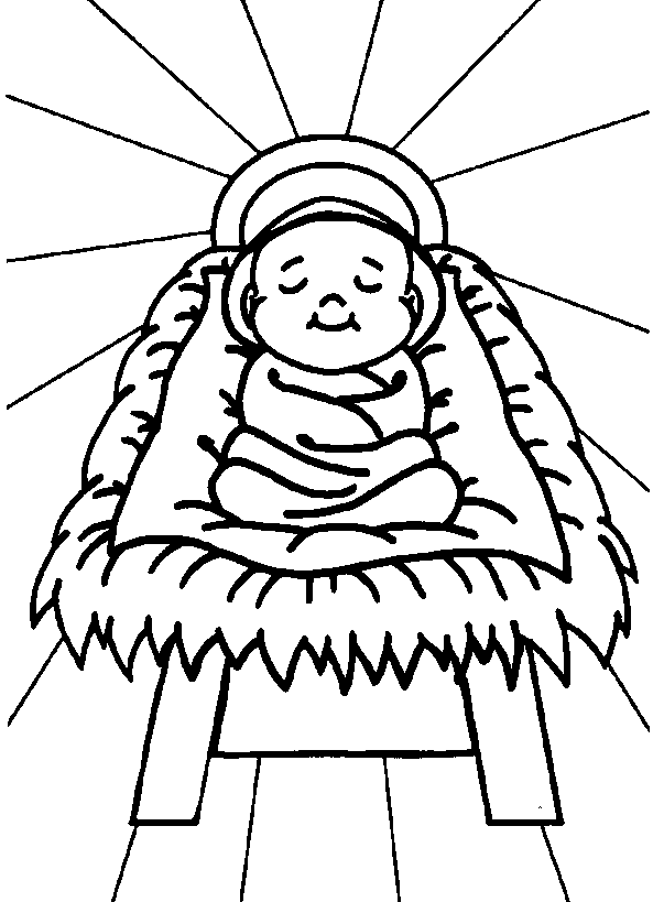 Black & White clipart baby jesus Manger white in clipart Baby